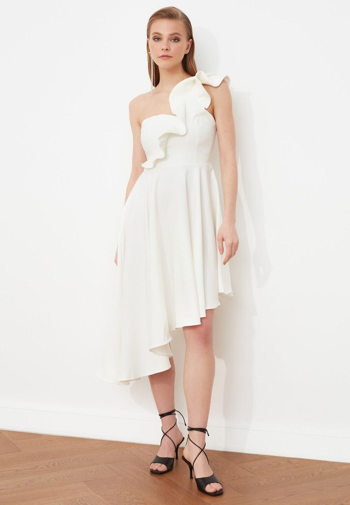 Asymmmetric One Shoulder Dress