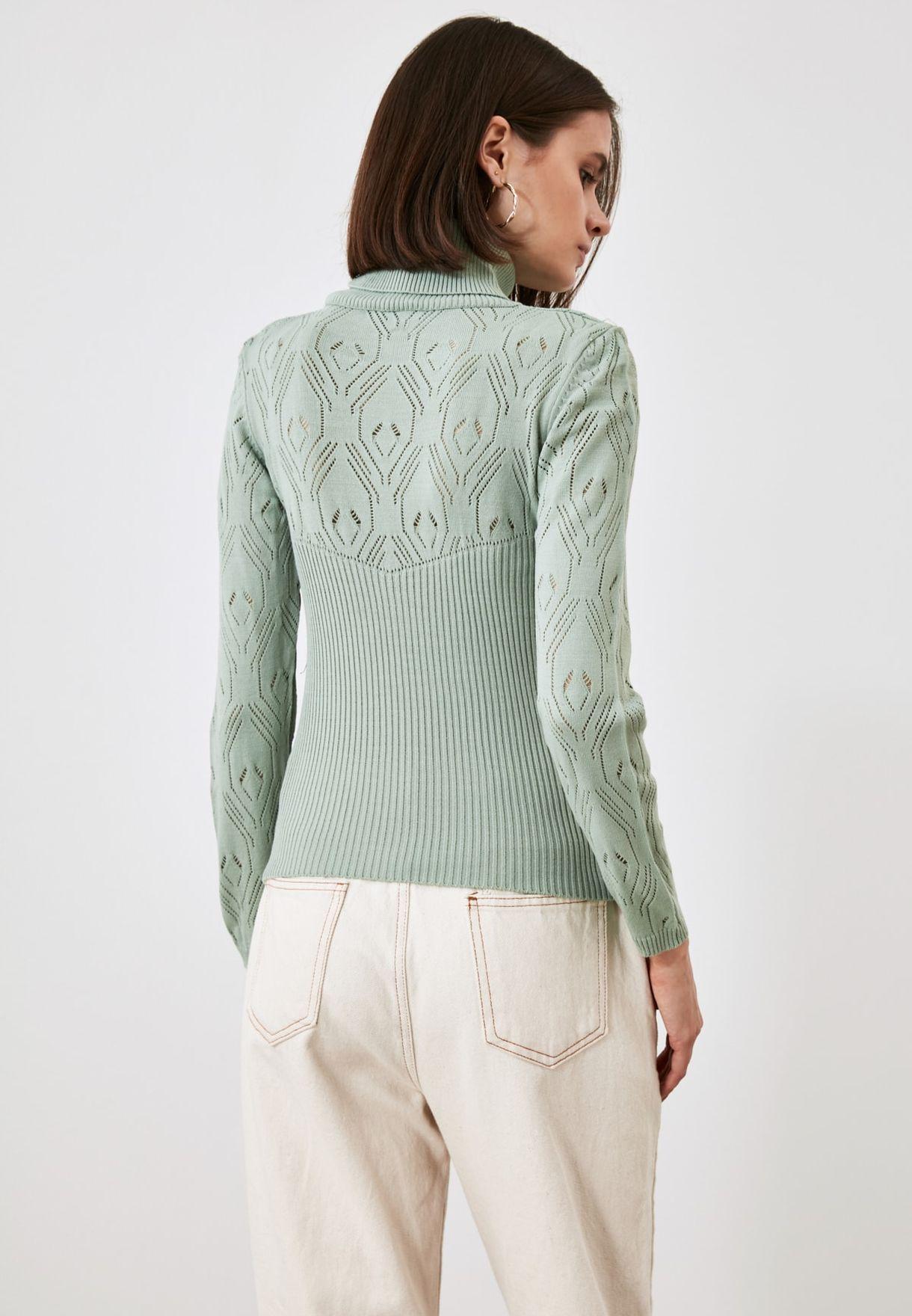 Openwork High Neck Sweater