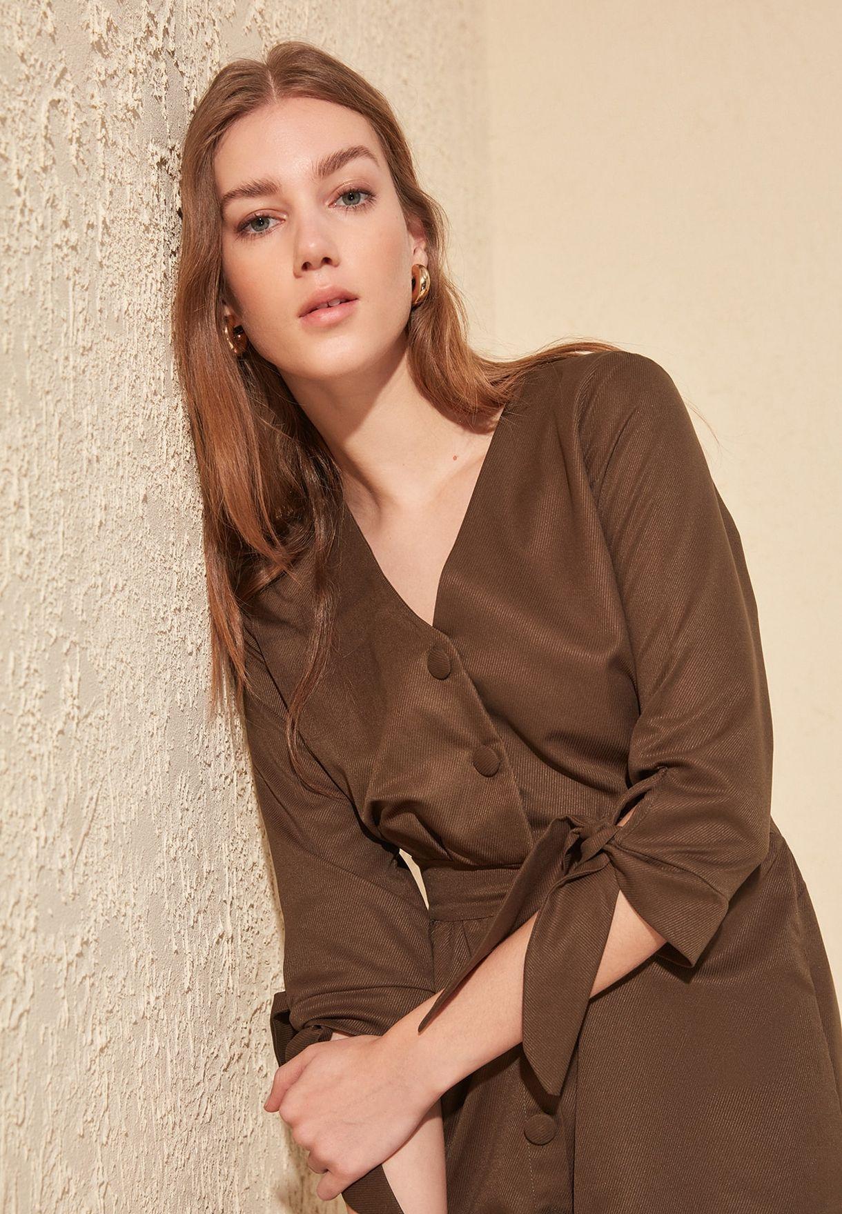 Button Down Tie Sleeve Dress