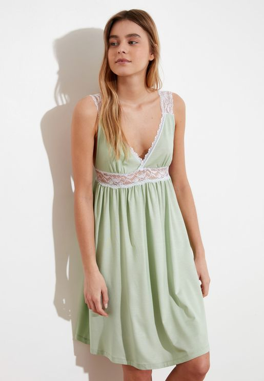 Lace Trim Plunge Nightdress