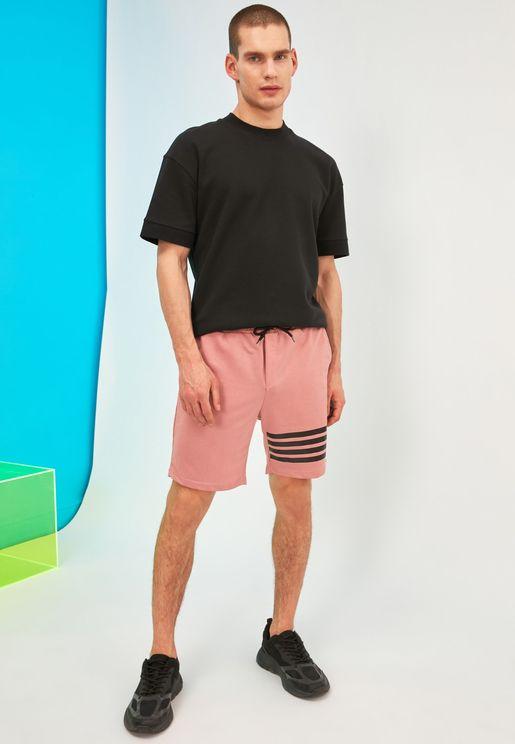 Stripe Detail Drawstring Shorts