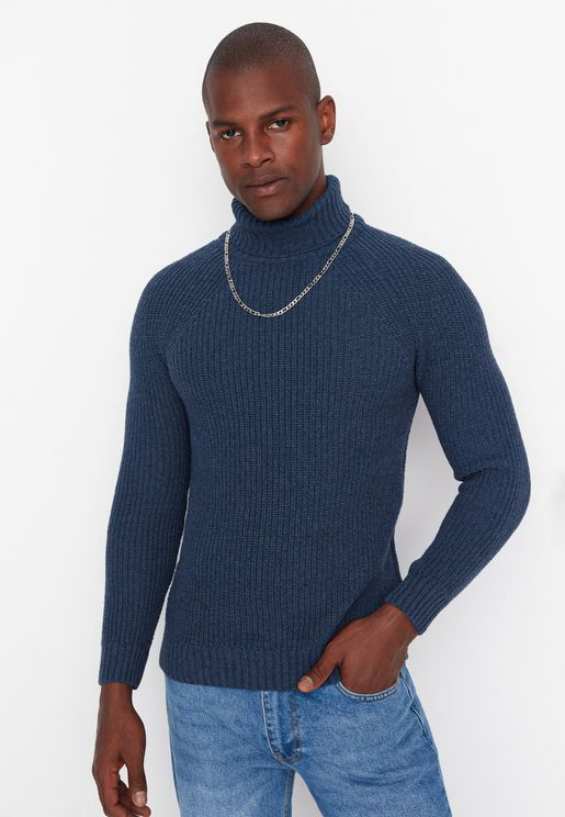 Turtle Neck Knitted Cardigan