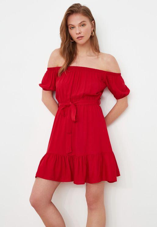 Puff Sleeve Bardot Dress
