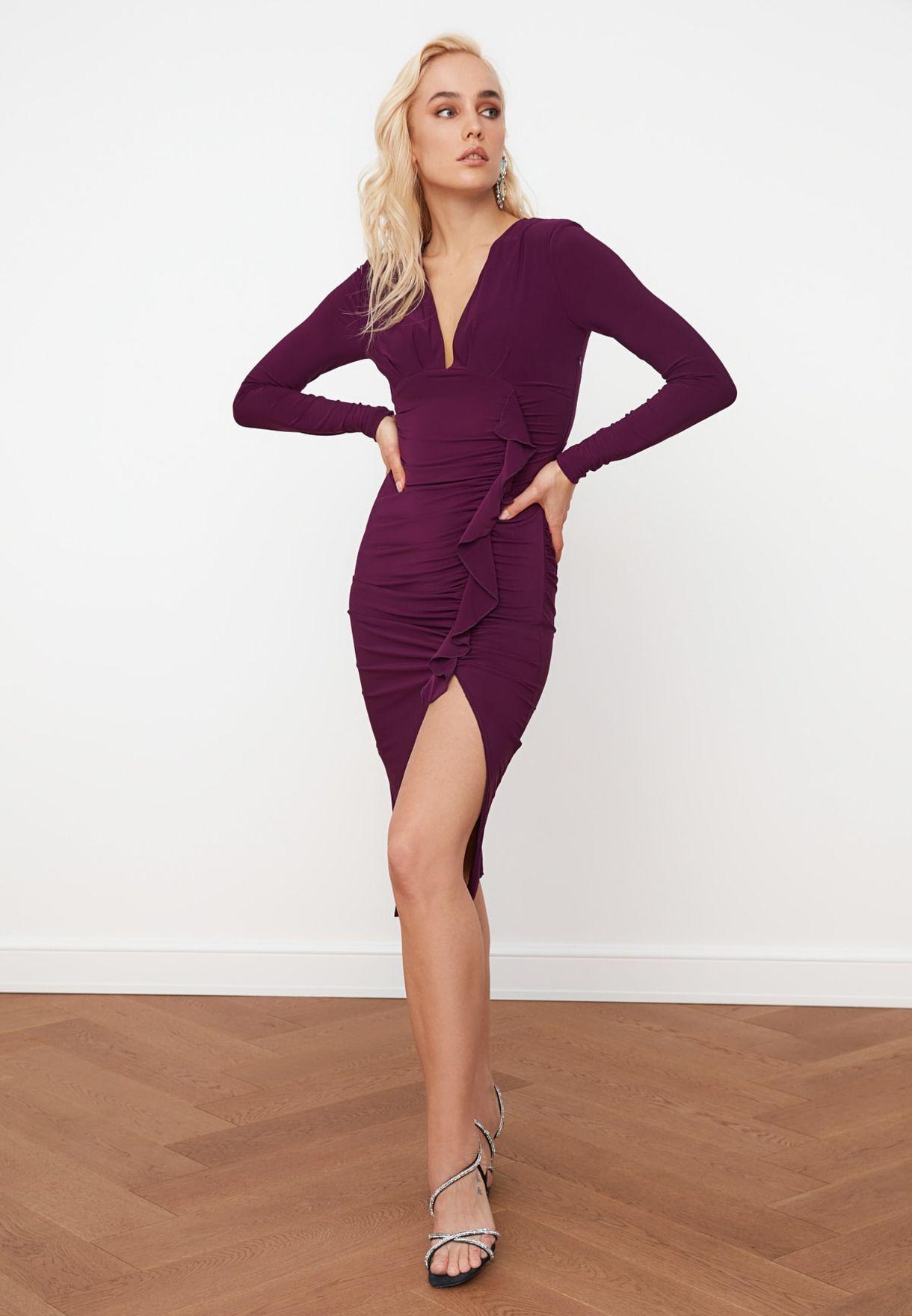 Ruffle Detail Side Split Dress