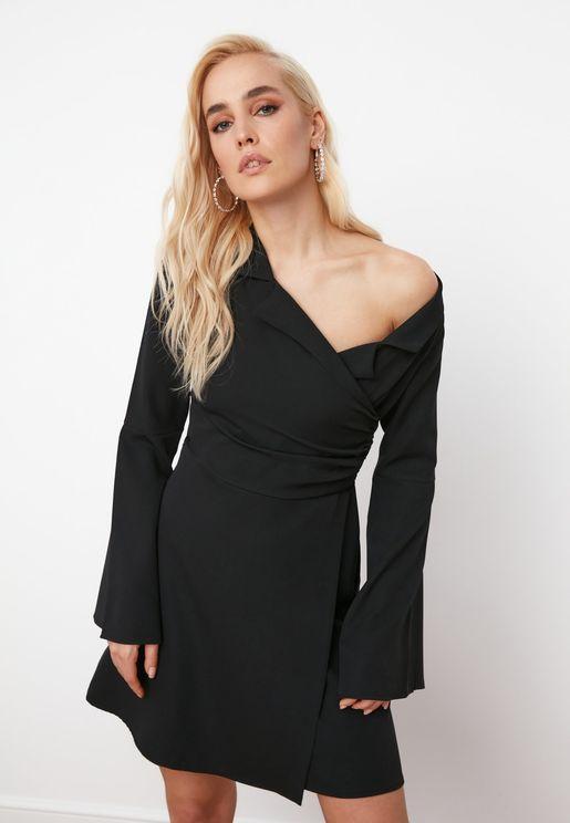 Drape Shoulder Wrap Dress
