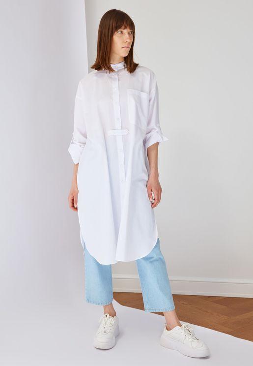 Curved Hem Tunic Shirt Dress