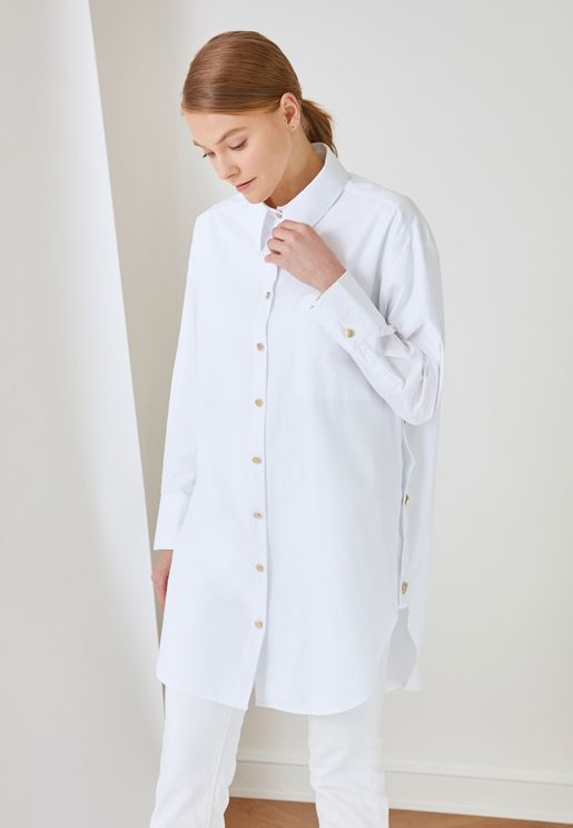 Button Down Tunic Shirt