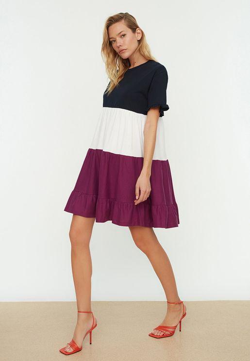 Ruffle Hem Colorblock Dress