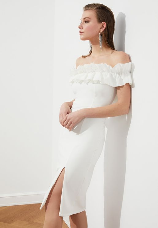 Bardot Ruffle Detail Dress