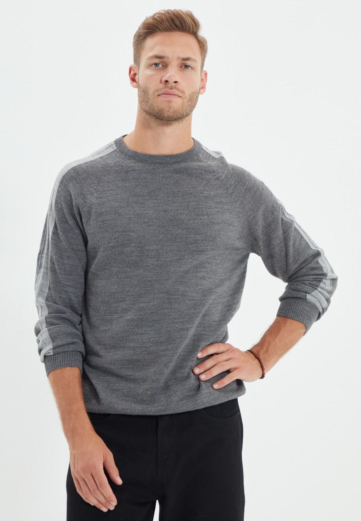 Striped Sleeve Crew Neck Sweater