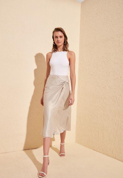 Twisted Wrap Midi Skirt