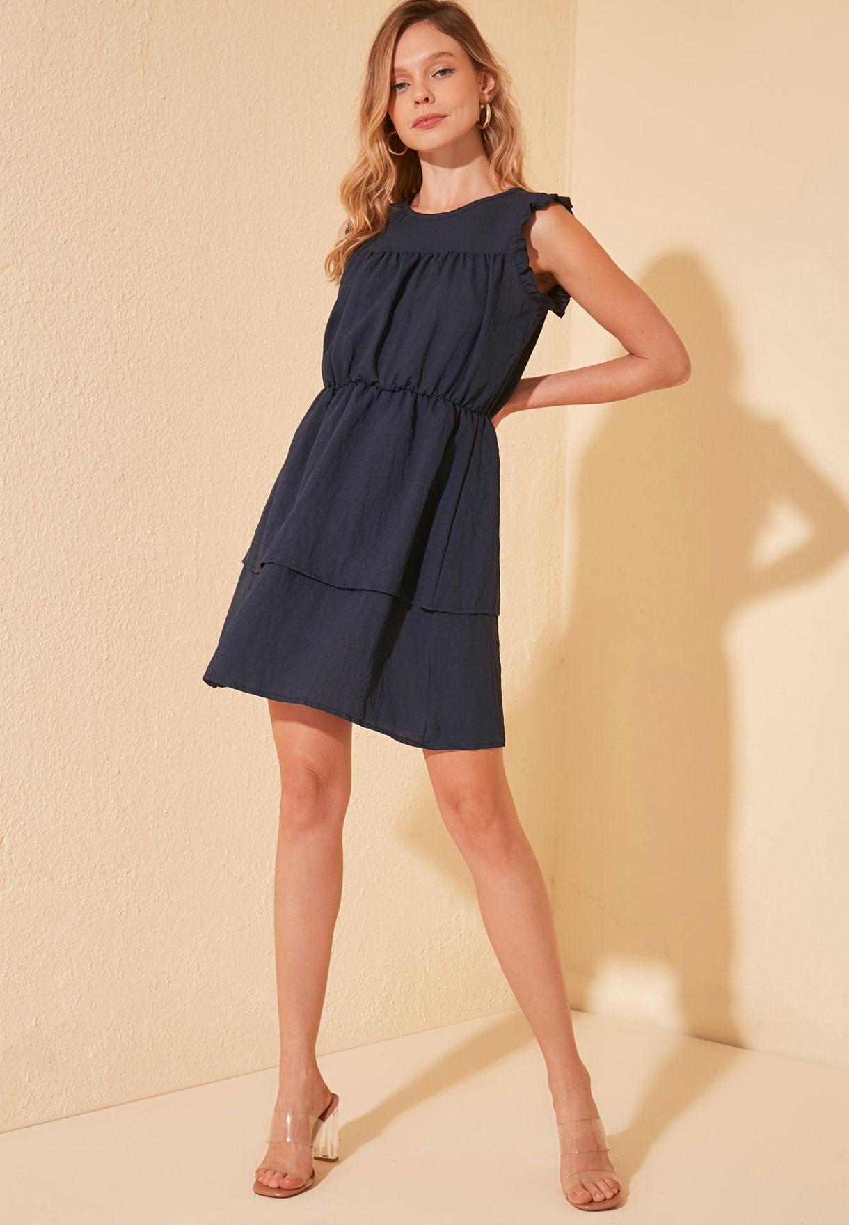 Ruffle Trim Pleat Detail Dress