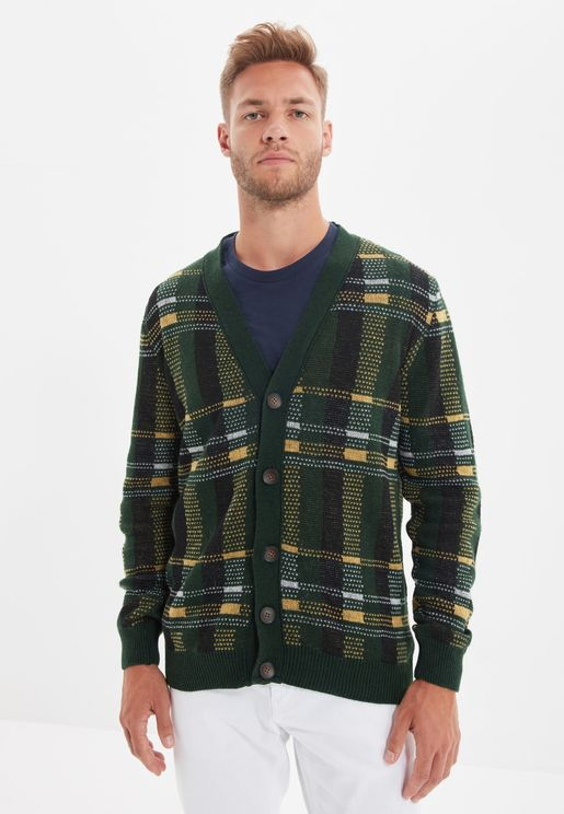 Checked Button Cardigan