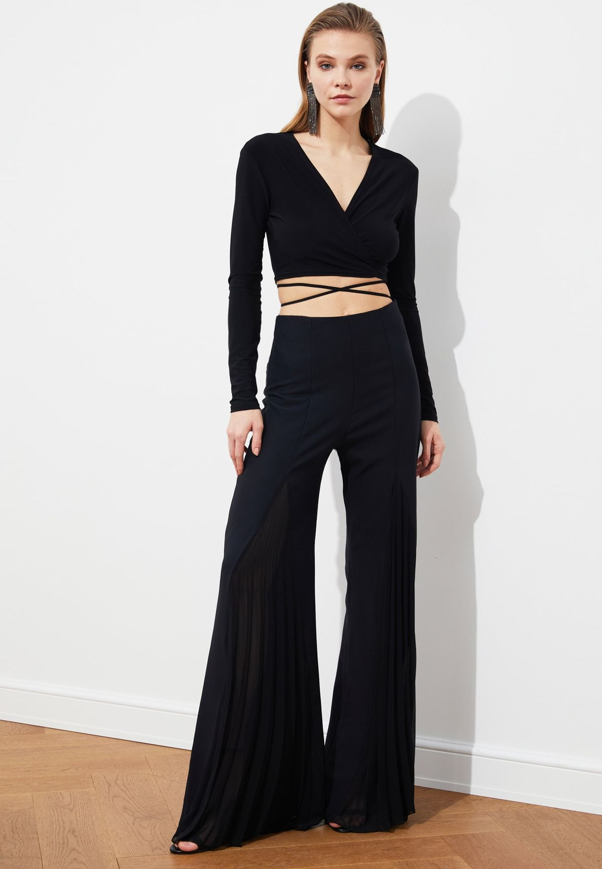 Mesh Detail Wide Leg Pants